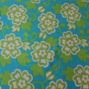 Tejido para baño flores turquesa verde
