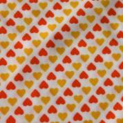 Tejido para baño corazones naranja amarillo