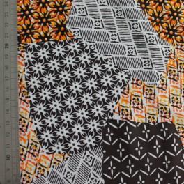 Tejido para baño collage naranja marron