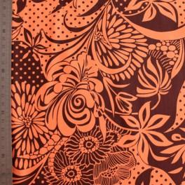 Tejido para baño flores marron naranja