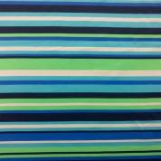 Tejido para baño stripe lima-turquesa-azulina